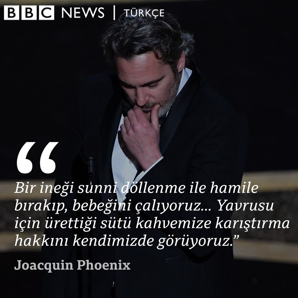 2019'un en çok konuşulan filmlerinden Joker ile en iyi erkek oyuncu Oscar'ını kazanan Amerikalı aktör Joaquin Phoenix teşekkür konuşmasında