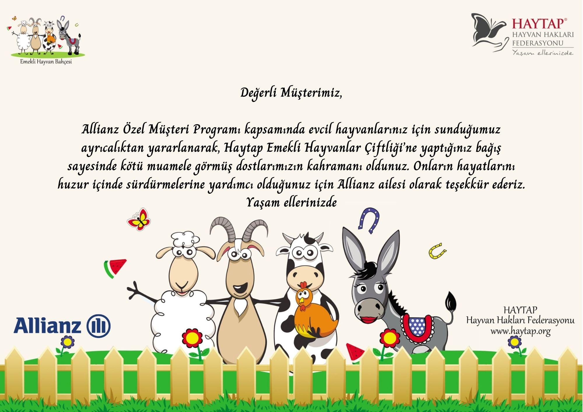 Emekli Hayvanlar Çiftliğimizin Destekçileri Arasına Allianz Türkiye de Katıldı