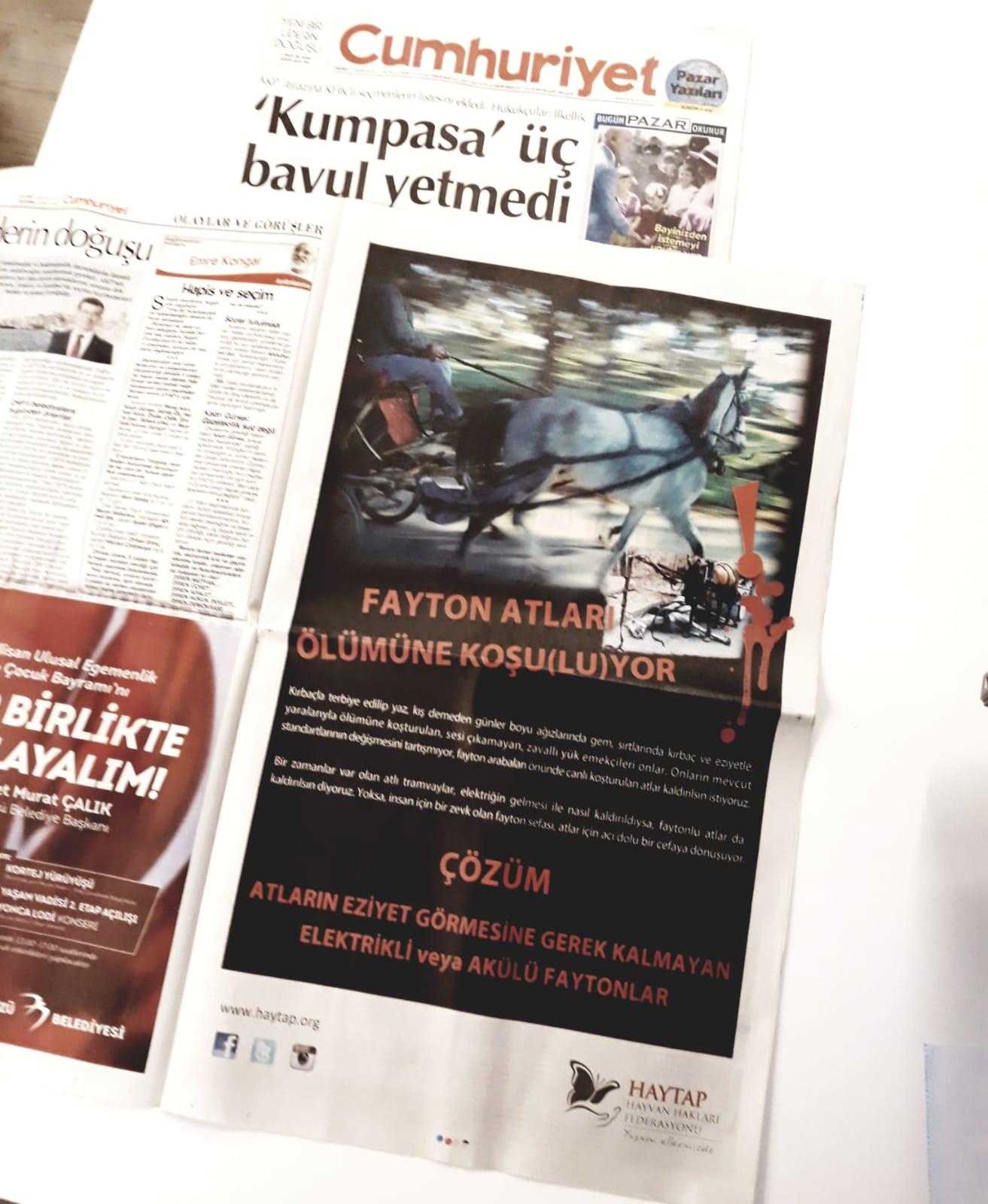 21 Nisan 2019 - Cumhuriyet Gazetesi Tam Sayfa İlanımız
