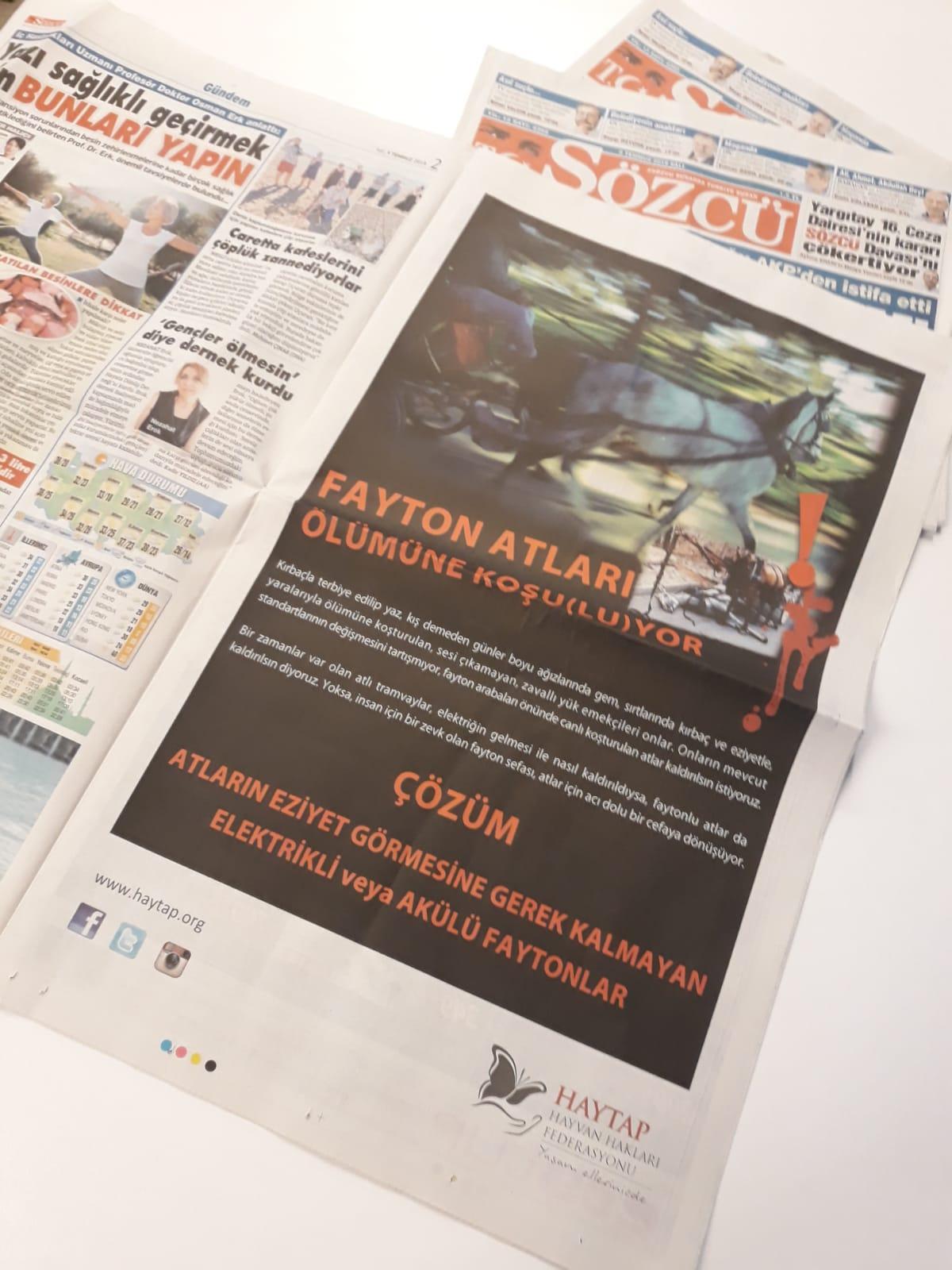 09 Temmuz 2019 - Sözcü Gazetesi Tam Sayfa İlanımız
