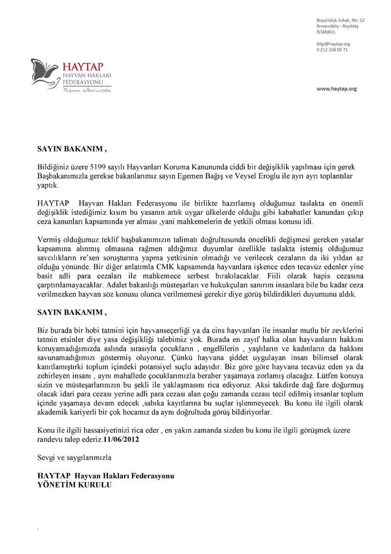 Adalet Bakanlığına Mektup !