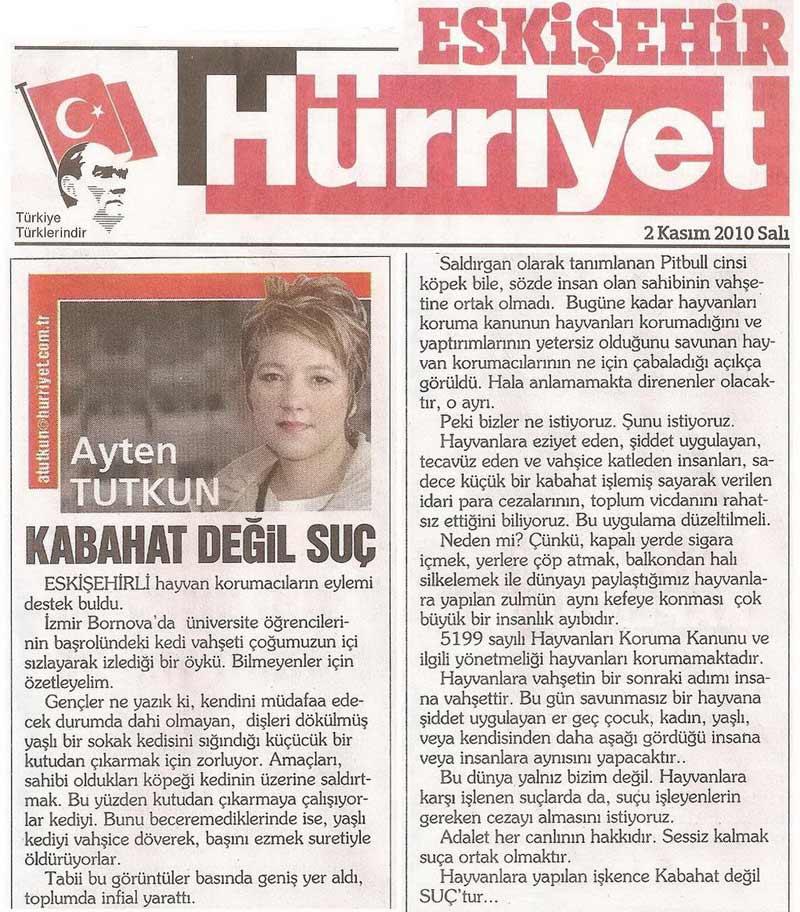 Kabahat Değil Suç - Hürriyet Eskişehir Gazetesi