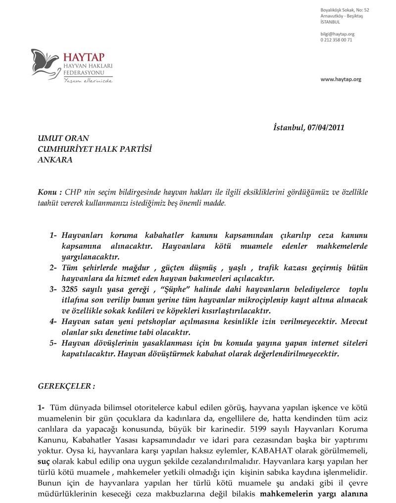 HAYTAP' ın Önerisi CHP Seçim Bildirgesinde