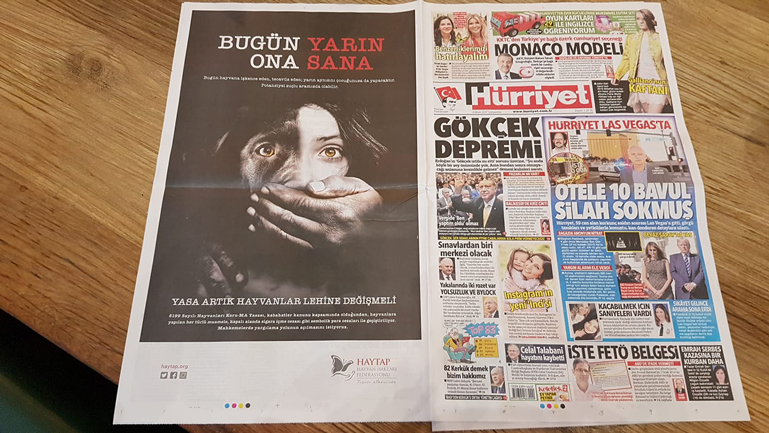 6 büyük gazetede HAYTAP tam sayfa ilanlarımız