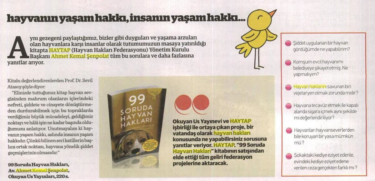 99 Soruda Hayvan Hakları Kitap Eki Tanıtım