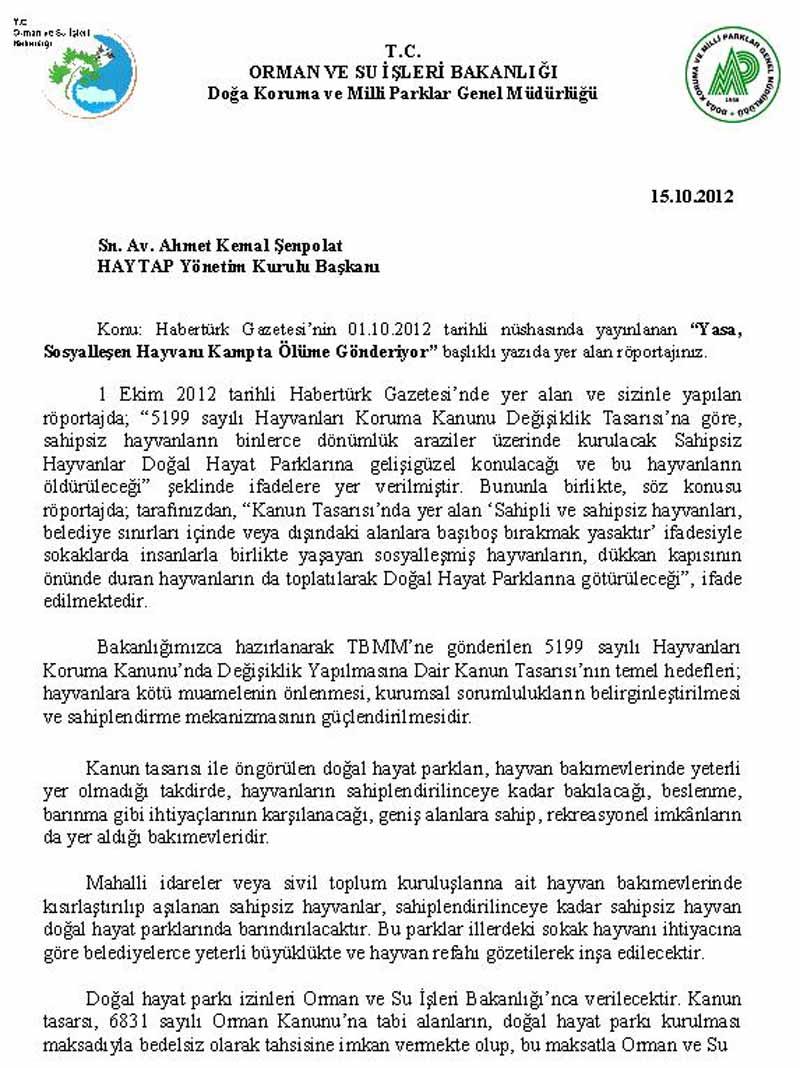 Orman Bakanlığından HAYTAP Röportajına Yanıt