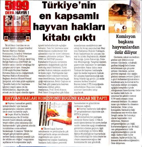 Türkiye'nin en kapsamlı hayvan hakları kitabı Istanbul Barosu tarafından  çıkarıldı -2008