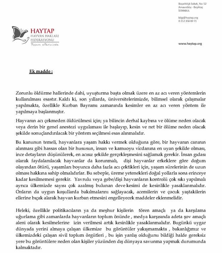 Bakanlığın HAYTAP 'tan Yönetmelik Taslağı İçin İstediği Görüş
