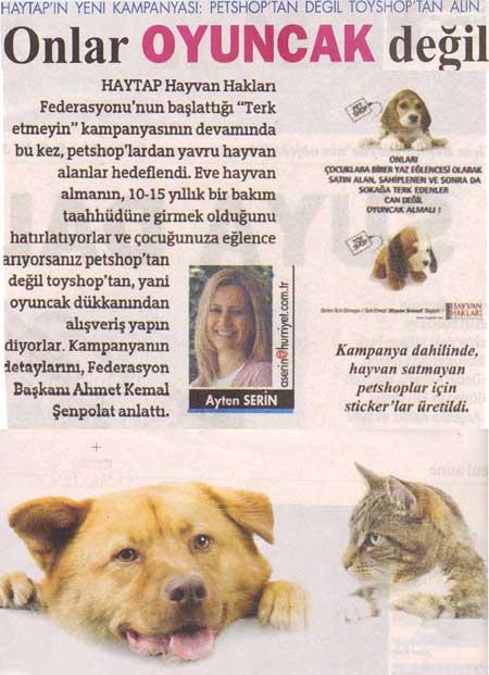 Onlar Oyuncak Değil ! Hürriyet Gazetesi