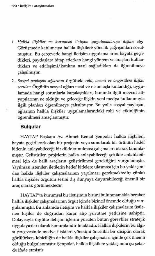 Ankara Üniversitesi İletişim Araştırmaları'nda HAYTAP'ın Halkla İlişkiler ve Sosyal Medya Algısına İlişkin Makale