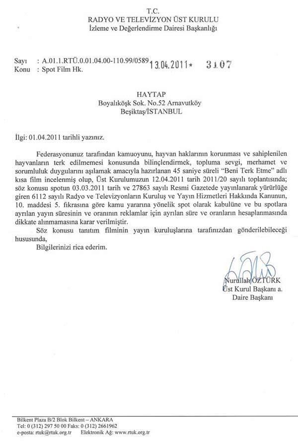RTÜK' e HAYTAP ''Beni Terk Etme'' Kısa Filminin Televizyonlarda yayınlanması Hak.