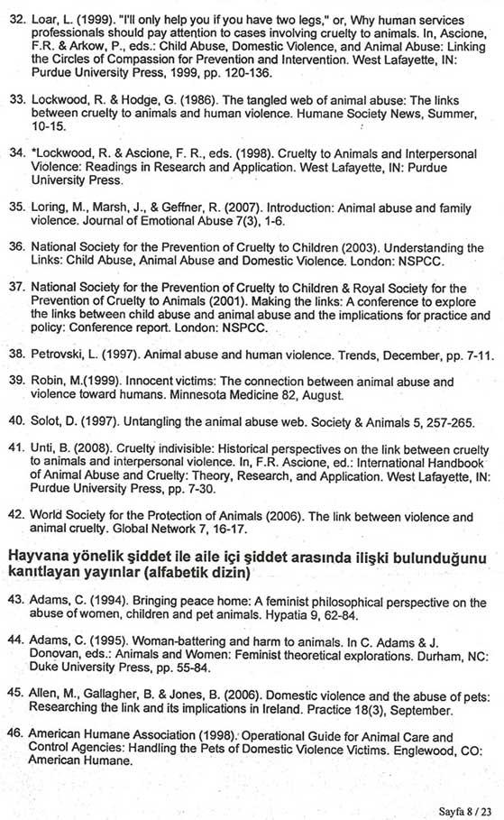 Prof. Dr. Sevil Atasoy : 5199 Kabahatler Yasasından Çıkarılmalı . Bilimsel Rapor