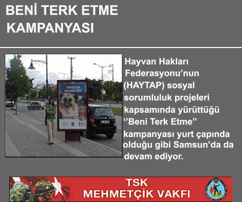 ''Beni Terk Etme''Kampanyası Samsun'da Devam Ediyor