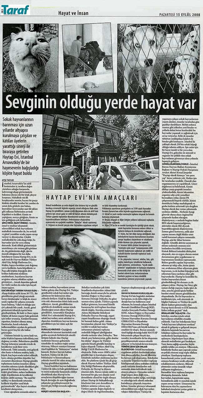 Seviginin Olduğu Yerde Hayat Var - Taraf Gazetesi 2008
