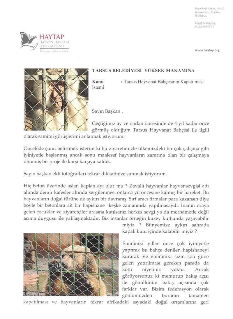 Tarsus Hayvanat Bahçesinin Kapatılması Hakkında