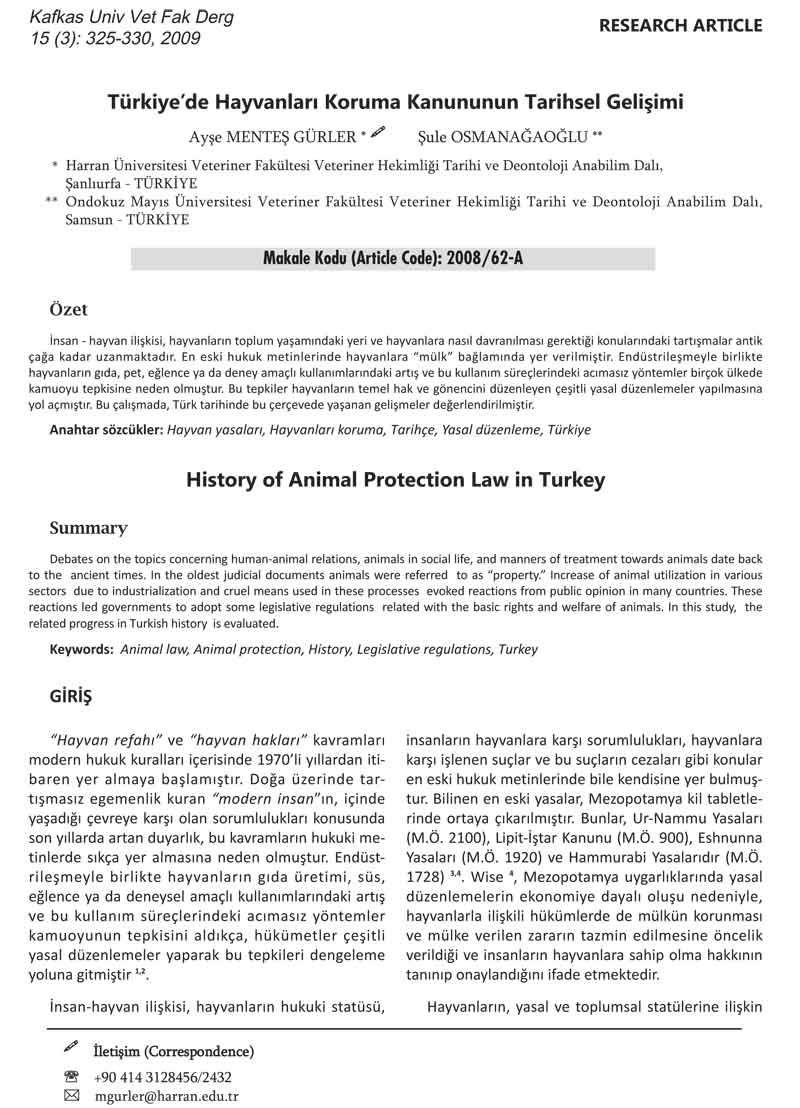 Türkiye'de Hayvanları Koruma Kanunu'nun Tarihsel Gelişimi